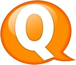 Speech balloon orange q