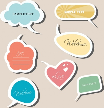 speech bauble stickers collection various colored flat decor