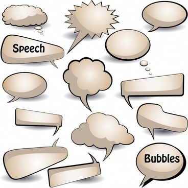 speech bubbles icons colored flat shapes