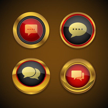 speech bubble gold icon button