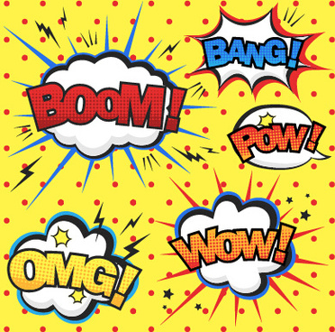 speech bubbles cartoon explosion styles vector set