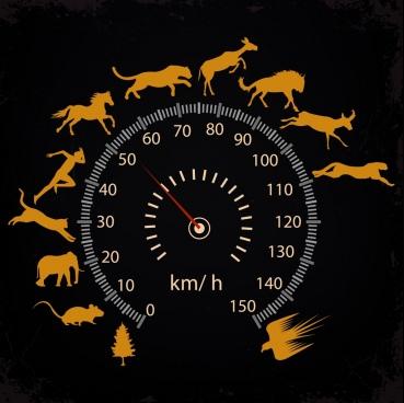 speed background speedometer animal silhouettes decoration