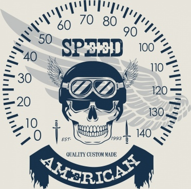 speed background speedometer skull wing icons decoration