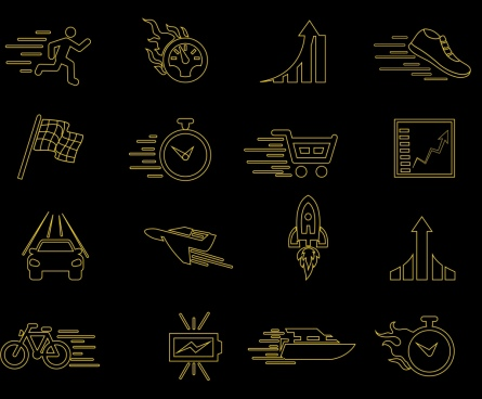 speed design elements black flat icons sketch