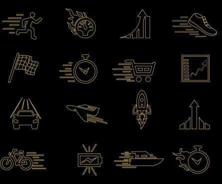speed design elements black flat icons sketch