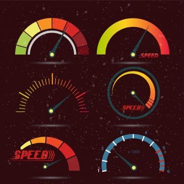 speed design elements multicolored flat speedometer icons
