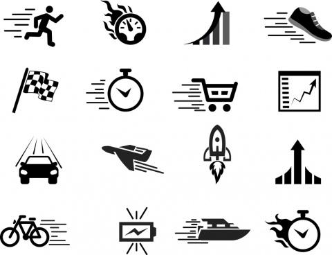 speed design elements various black white flat icons