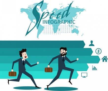 speed infographic businessmen icon arrow map decoration