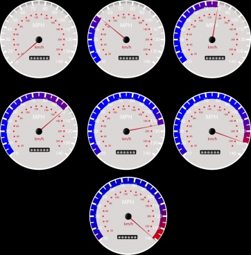 speedometer icons collection flat round design