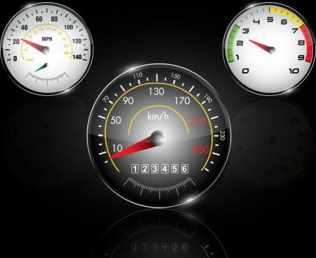 speedometer icons shiny flat round design