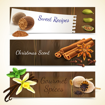 spices with wooden textures banners vector