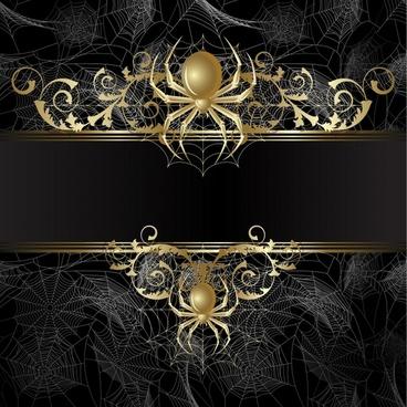 spiderweb background shiny golden black decor