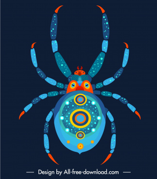 spider icon modern colorful decor symmetric flat design