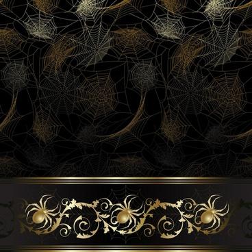 spiderweb decorative background dark golden decor
