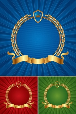 medal templates ribbon shield wreath icons 3d golden
