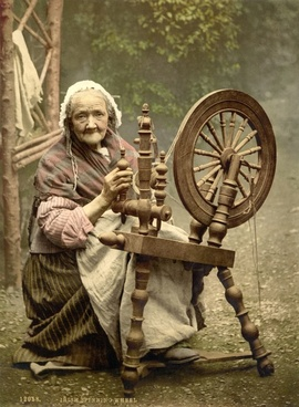 spinning wheel woman old