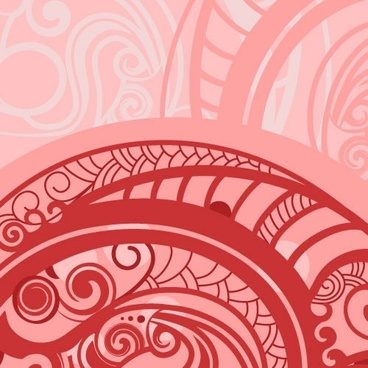 decorative pattern template retro red curved decor