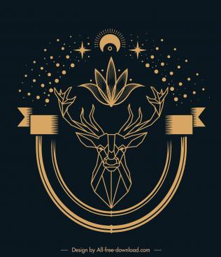 spirit tattoo template symmetrical reindeer universe elements sketch