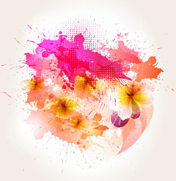 splash color flower backgrounds vector