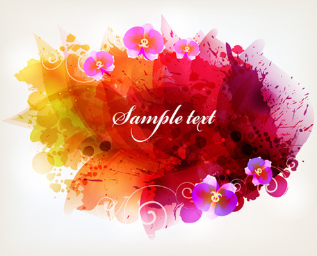 splash watercolor with flower background vector
