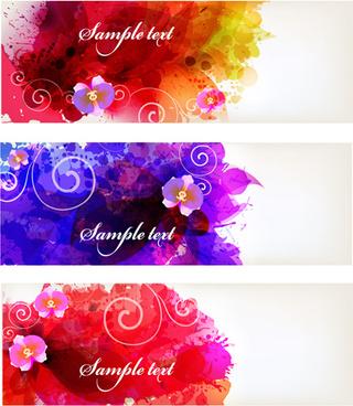 splash watercolor with flower banner vector