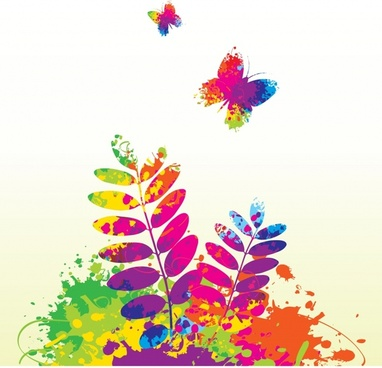 nature background template leaf butterflies sketch colorful grunge