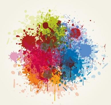decorative background template splashing grunge colorful ink