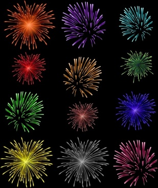 fireworks background template dark colorful explosion design
