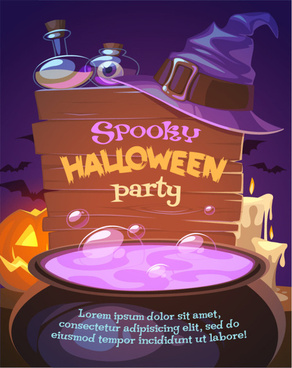 spooky halloween party poster vector art