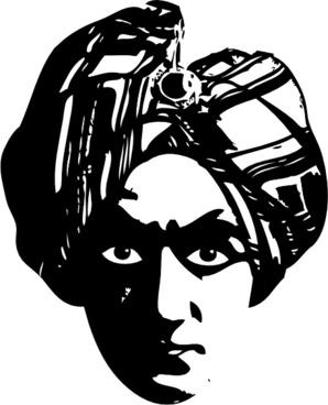 Spooky Person Head Turbine clip art