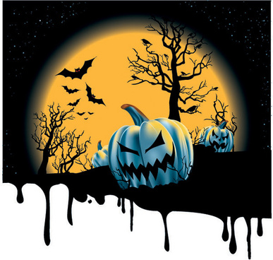 spooky pumpkins with halloween night background
