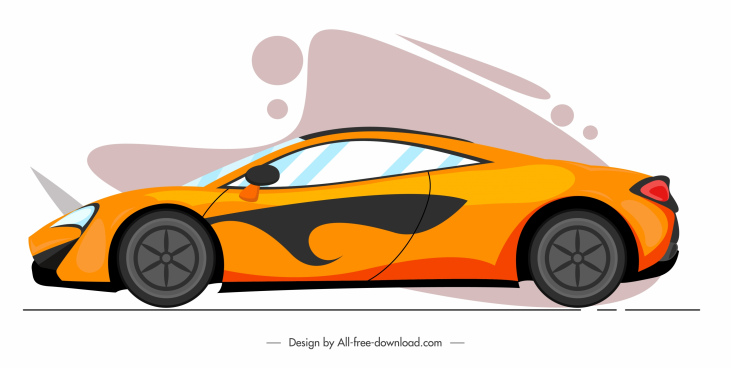sport car icon colored modern sketch