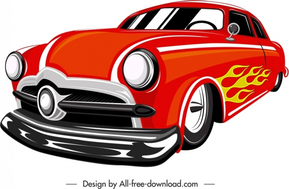 sport car icon modern red decor 3d sketch