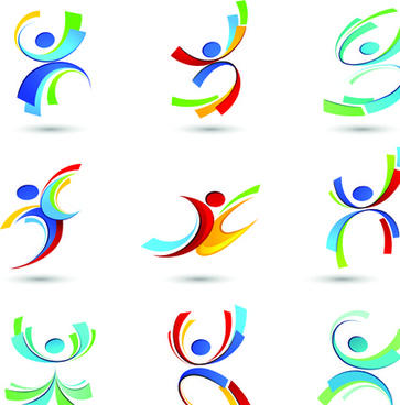 sport elements logo and icon vector