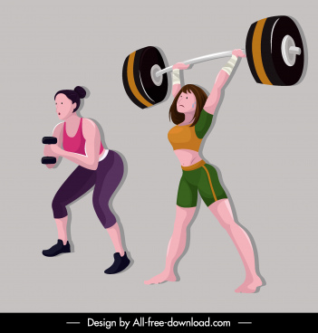 sport girl icons weight lifting sketch cartoon characters