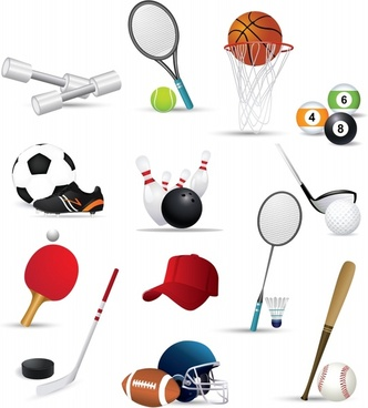sports icons modern colored symbols sketch