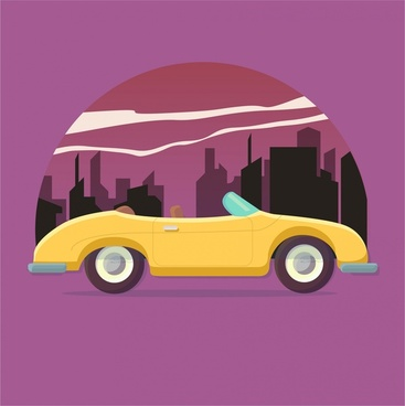 sport racing car illustration in retro style