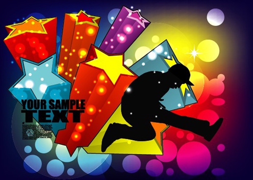sports and revelry bright background vector set