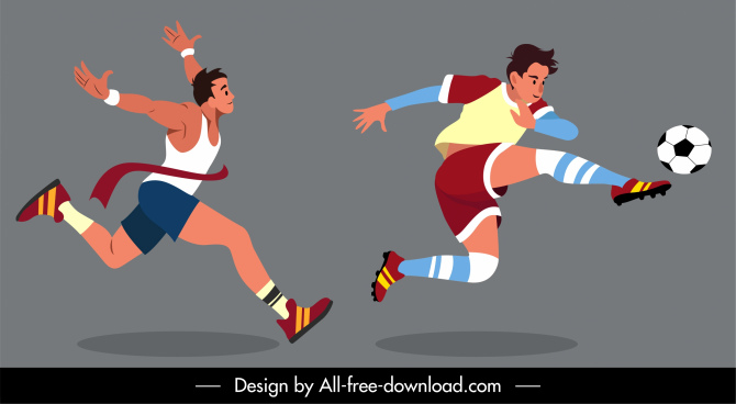 sports athletic icons cartoon characters sketch dynamic design