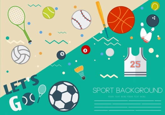 sports background ball games icons decor