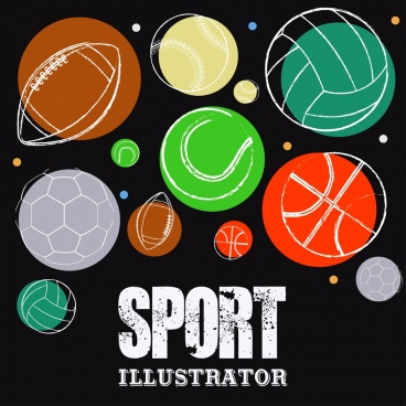 sports background balls icons sketch