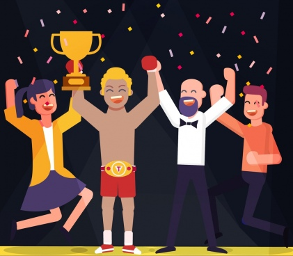 sports background boxing theme award trophy icon