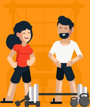 sports background gym theme woman man dumbbell icons