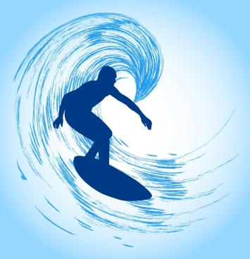 sports background surfing man icon silhouette design