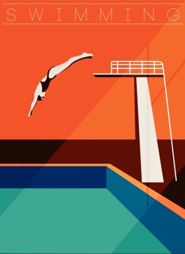 sports banner springboard pool jumping woman icons