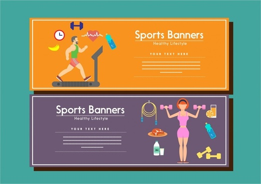 sports banners human exercise design on color background