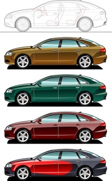 car design sketch colored modern types
