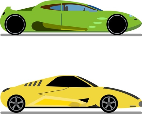 sports cars collection in green and yellow