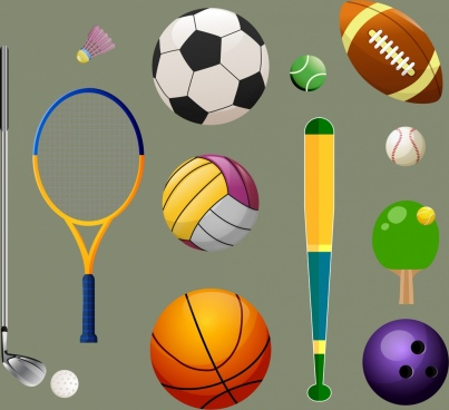 sports design elements ball icons multicolored ornament