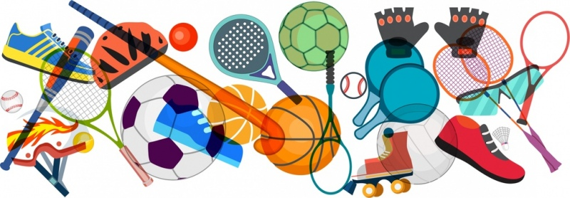 sports design elements multicolored tools icons layout